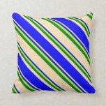 [ Thumbnail: Beige, Blue, Light Green, and Green Lines Pillow ]
