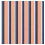 [ Thumbnail: Beige, Blue, Midnight Blue, Black & Light Salmon Fabric ]