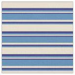 [ Thumbnail: Beige, Blue & Midnight Blue Stripes/Lines Pattern Fabric ]