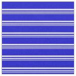 [ Thumbnail: Beige & Blue Stripes/Lines Pattern Fabric ]