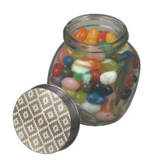 Beige Brick Aztec Tribal Print Ikat Diamond Pattrn Glass Candy Jars