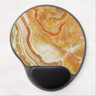 Beige Brown Accents Marble Stone Pattern Gel Mouse Pad