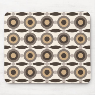 Beige, brown and sand coloured circles and dots mouse pad
