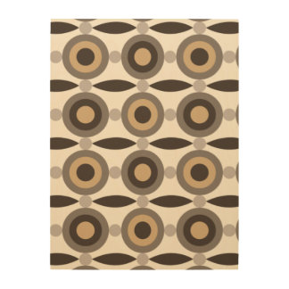 Beige, brown and sand coloured circles and dots wood wall decor