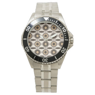 Beige, brown and sand coloured circles and dots wrist watch