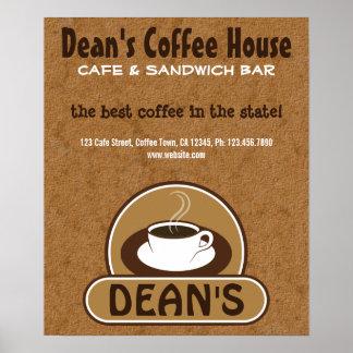 Beige Brown Coffee Shop Coffee Cup Custom Cafe Poster