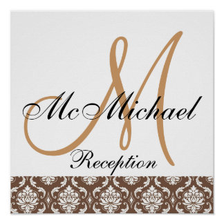 Beige Brown Damask  Monogram Wedding Reception Poster
