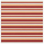 [ Thumbnail: Beige, Brown & Dark Red Colored Lined Pattern Fabric ]