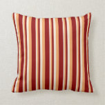 [ Thumbnail: Beige, Brown & Dark Red Colored Lined Pattern Throw Pillow ]