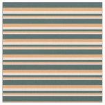 [ Thumbnail: Beige, Brown & Dark Slate Gray Lines Fabric ]