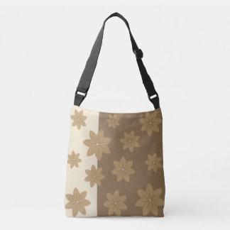 Beige Brown Flowers Illustration Crossbody Bag