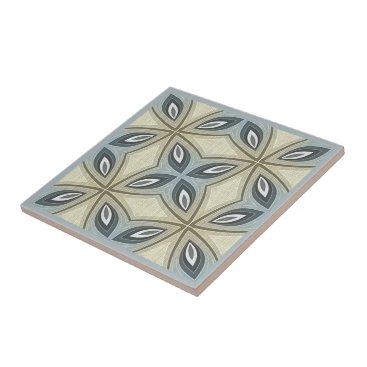 LolasClassyCeramics Beige Brown Gray Blue Batik Floral Star Pattern Ceramic Tile