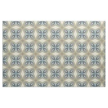 Aztec Themed Beige Brown Gray Blue Batik Floral Star Pattern Fabric