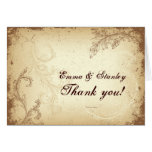 Beige brown scroll leaf vintage wedding Thank You Card