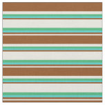 [ Thumbnail: Beige, Brown, Turquoise & Sea Green Colored Lines Fabric ]