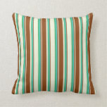 [ Thumbnail: Beige, Brown, Turquoise & Sea Green Colored Lines Throw Pillow ]
