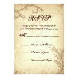 Beige, brown vintage scroll leaf wedding RSVP 3.5x5 Paper Invitation Card