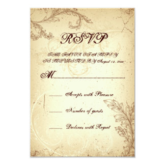 Beige, brown vintage scroll leaf wedding RSVP Card