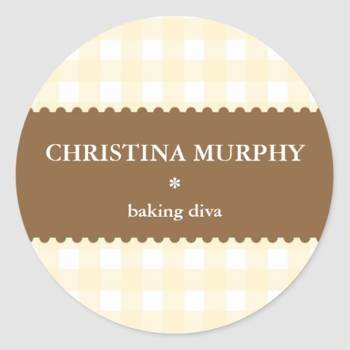 Beige brown white gingham homemade food label seal round stickers