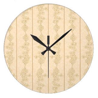 beige brwon vintage damask clock
