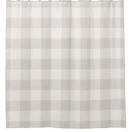 Beige Buffalo Check | Farmhouse Bath Decor Shower Curtain
