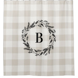 Beige Buffalo Check Monogram | Farmhouse Bathroom Shower Curtain
