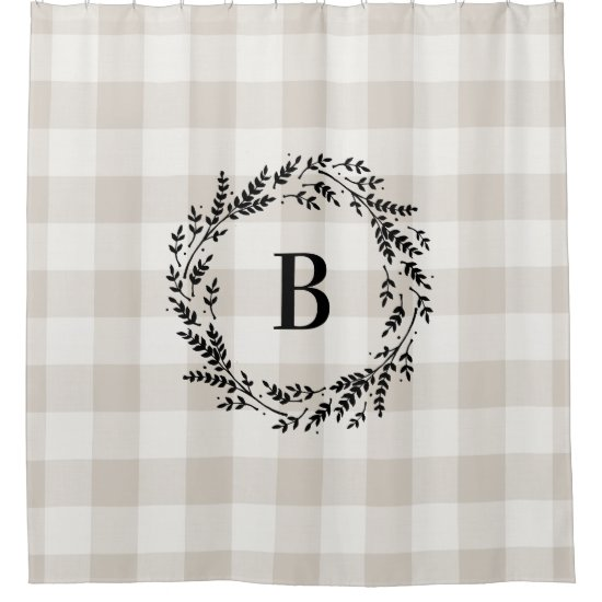 Beige Buffalo Check Monogram | Farmhouse Bathroom Shower Curtain