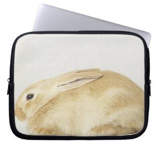 Beige bunny rabbit on white background 4 laptop sleeve