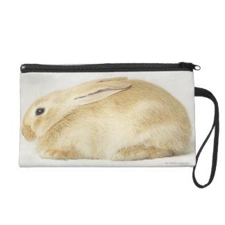Beige bunny rabbit on white background 4 wristlet