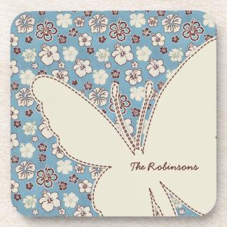 Beige Butterfly on Vintage Floral Blue Pattern Coaster