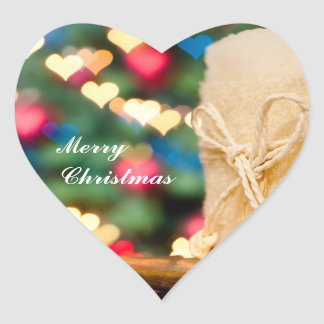 Beige candle and Colorful heart bokeh Christmas Heart Sticker