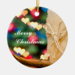 Beige candle and colourful heart bokeh Christmas Christmas Ornament