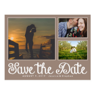 Beige Chalk Save The Date Collage Postcard