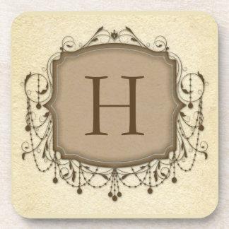 Beige Chandelier Monogram Initial Drink Coaster
