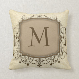 Beige Chandelier Monogram Initial Pillow