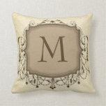 Beige Chandelier Monogram Initial Throw Pillow