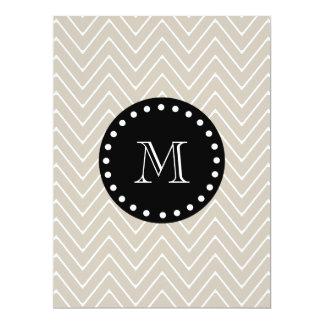 Beige Chevron Pattern | Black Monogram 6.5x8.75 Paper Invitation Card