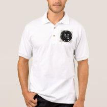 Beige Chevron Pattern   Black Monogram Polo Shirt