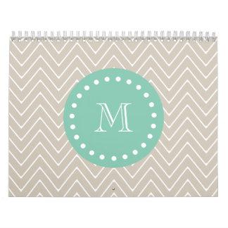 Beige Chevron Pattern   Mint Green Monogram Wall Calendars