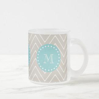 Beige Chevron Pattern   Teal Monogram Frosted Glass Coffee Mug