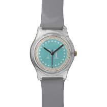 Beige Chevron Pattern | Teal Monogram Wristwatch