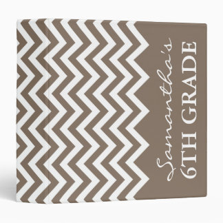 Beige chevron school binder for 6th grade teacher