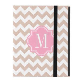 Beige Chevron with Pink Monogram iPad Cover