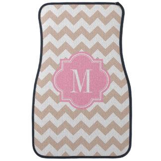 Beige Chevron with Pink Monogram Floor Mat