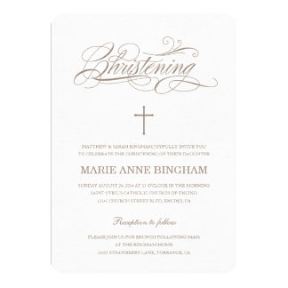Beige Christening Invitation | Baptism Invitation