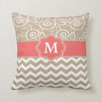 Beige Coral Chevron Monogram Pillow