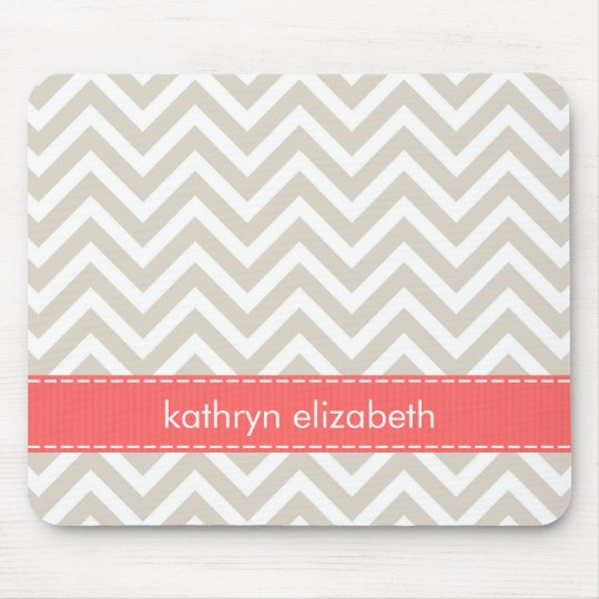 Beige & Coral Chevron Stitched Ribbon Monogram Mouse Pad