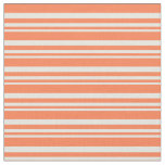 [ Thumbnail: Beige & Coral Colored Lined/Striped Pattern Fabric ]