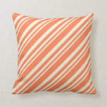 [ Thumbnail: Beige & Coral Colored Lined/Striped Pattern Pillow ]