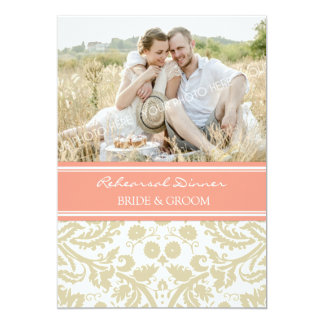 Beige Coral Damask Photo Rehearsal Dinner Party 5x7 Paper Invitation Card